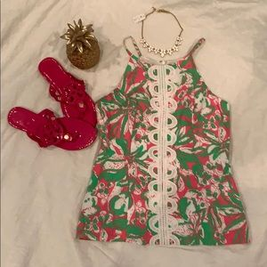 Lilly Pulitzer Tops - EUC Lilly Pulitzer Pink & Green halter w lace so 6